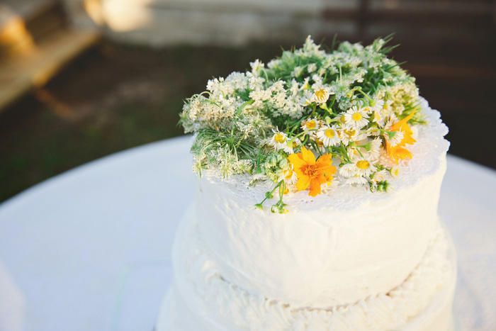 wild flower topped wedding cake