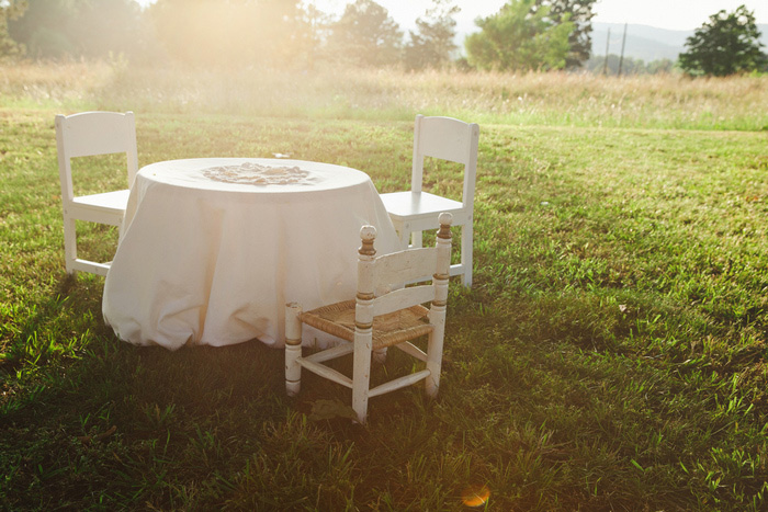 sweetheart table at backyard wedding reception