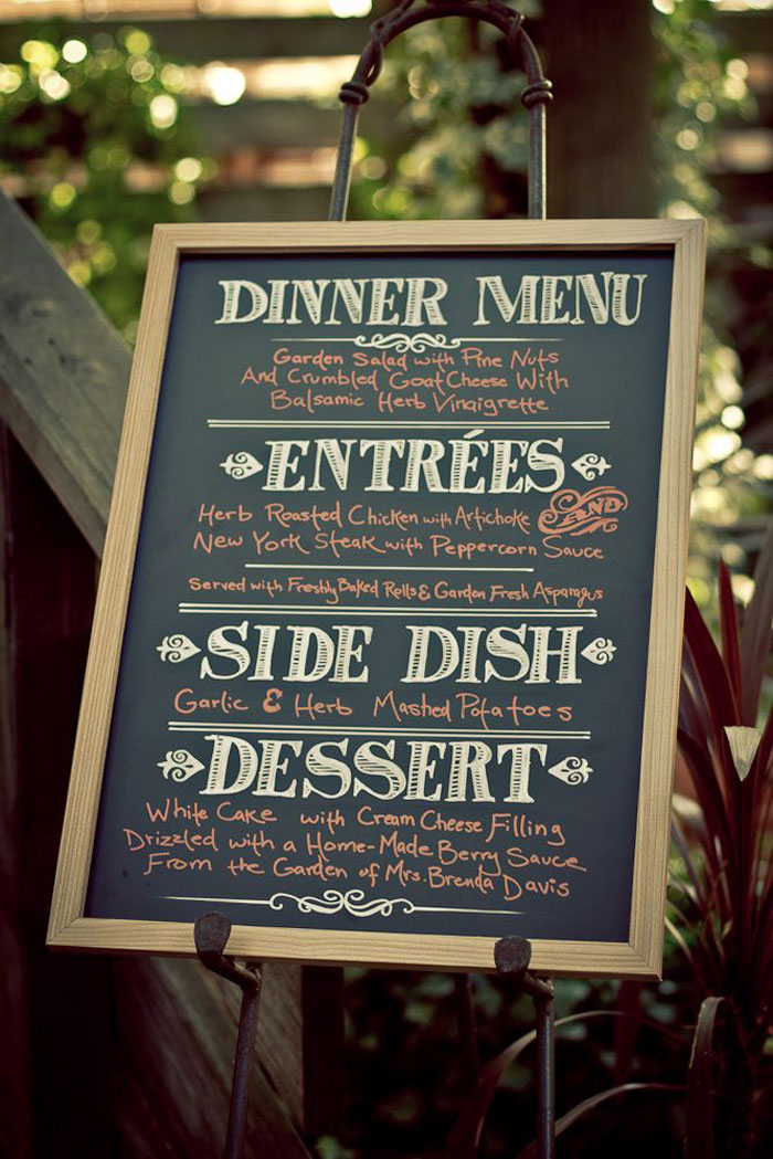 chalkboard buffet menu
