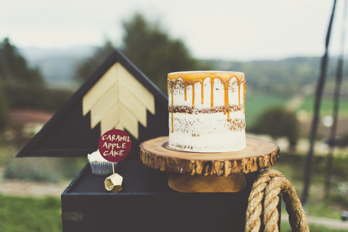 naked wedding cake with caramel