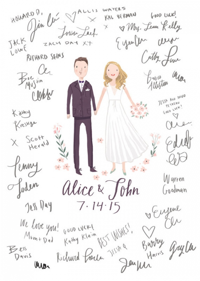 custom illustration guest book