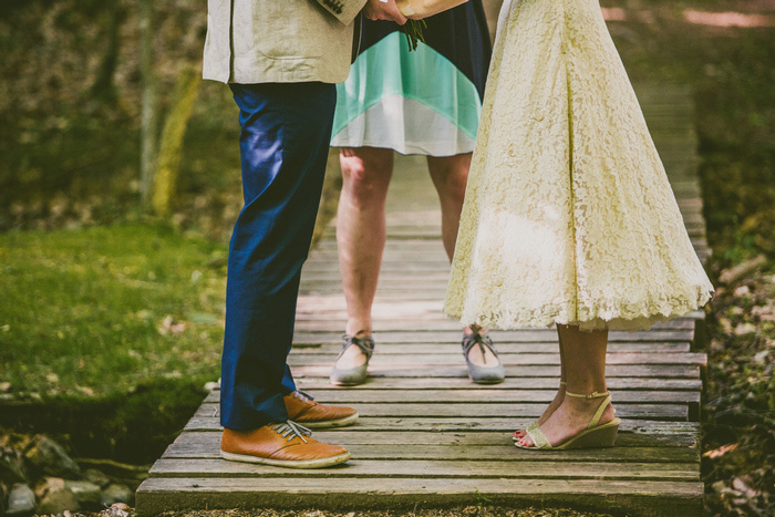 bride and groom's legs during ceremony
