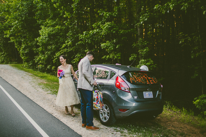 bride and groom's car decorated