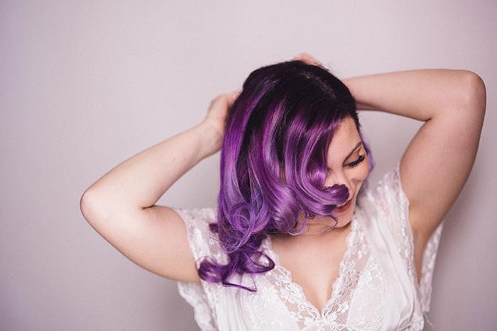purple haired bride