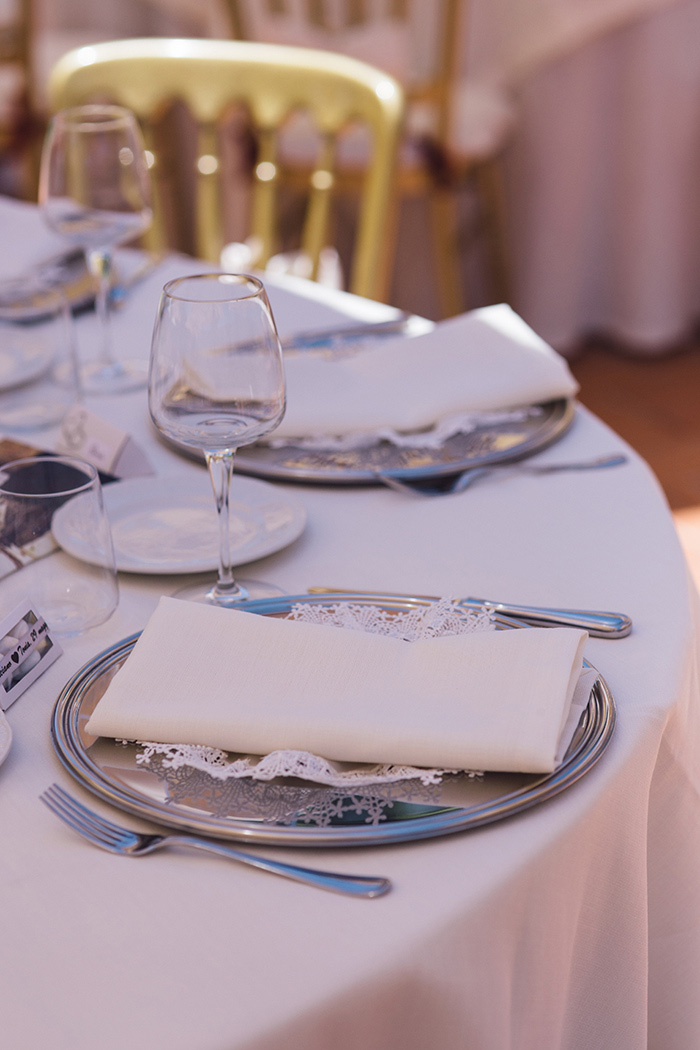 Italian wedding reception place setting