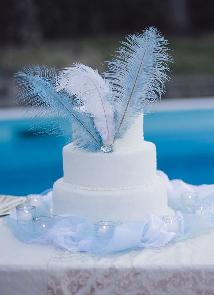 white wedding cake with white and blue feathers
