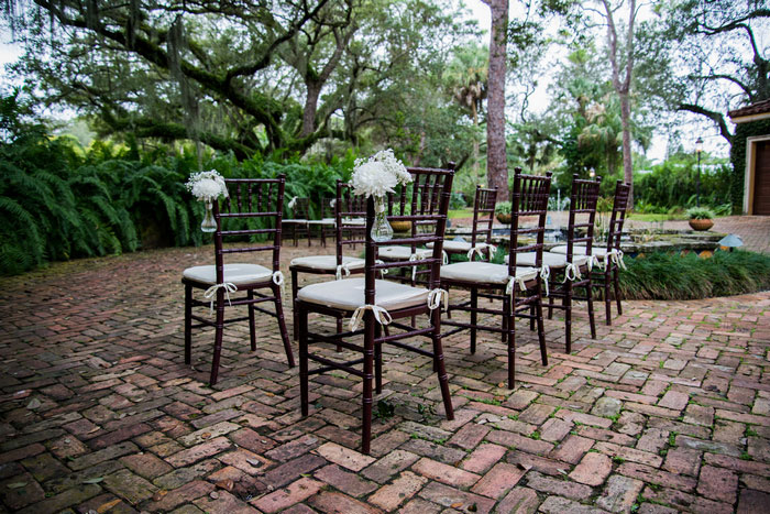 Chiavari chairs set up for ceremony