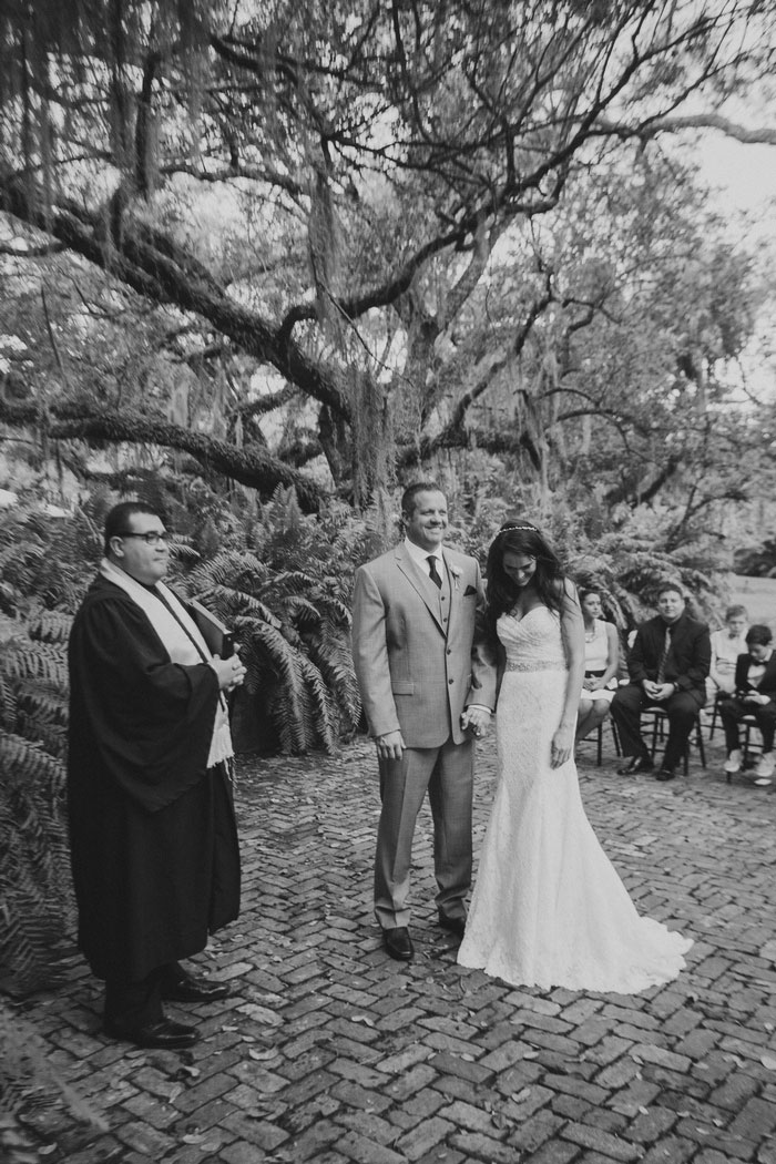 bride and groom being presented as husband and wife
