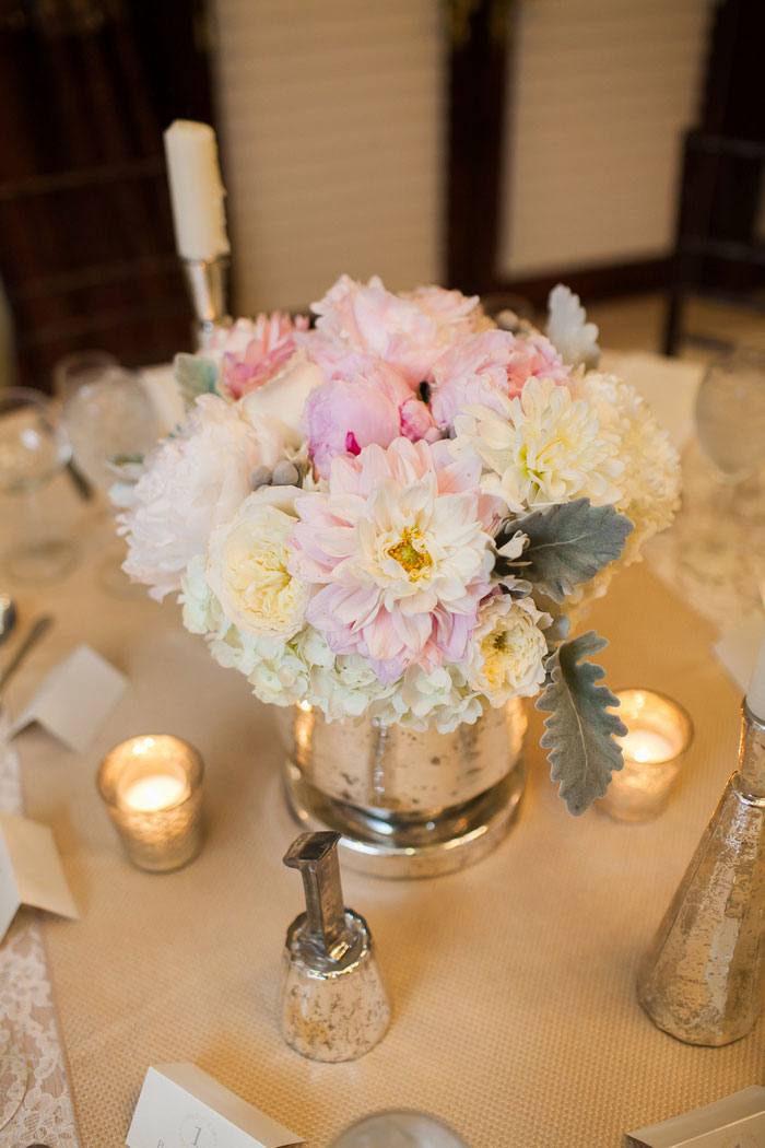 pale pink and white wedding centerpiece