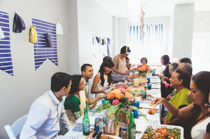 at-home wedding reception dinner