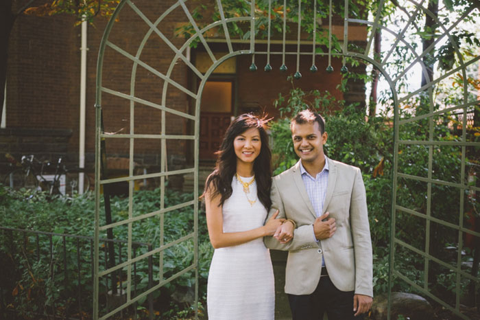 wedding portrait in front of house