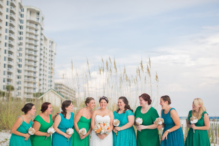 bridal party portrait on the beach