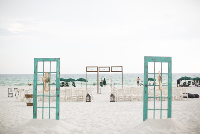 beach wedding ceremony set-up