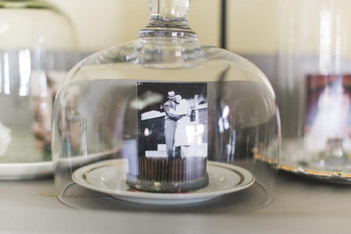 family wedding portrait under glass dome