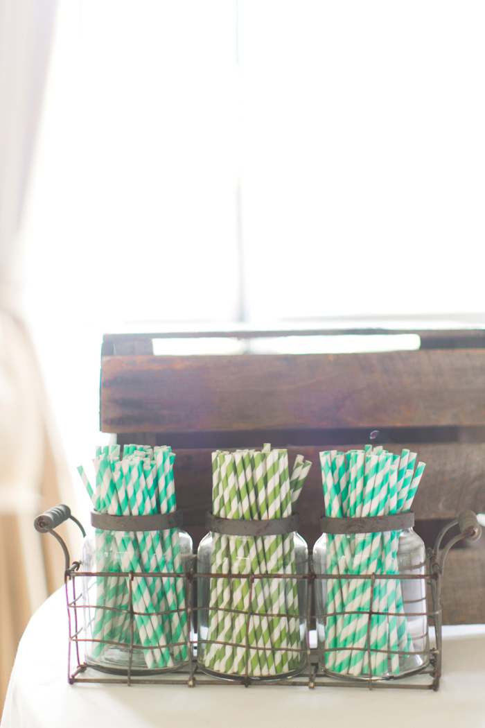 striped straws on wedding bar