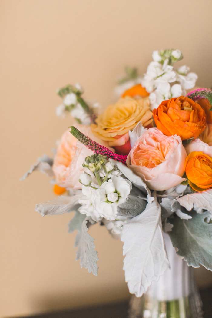 orange pink and white wedding bouquet