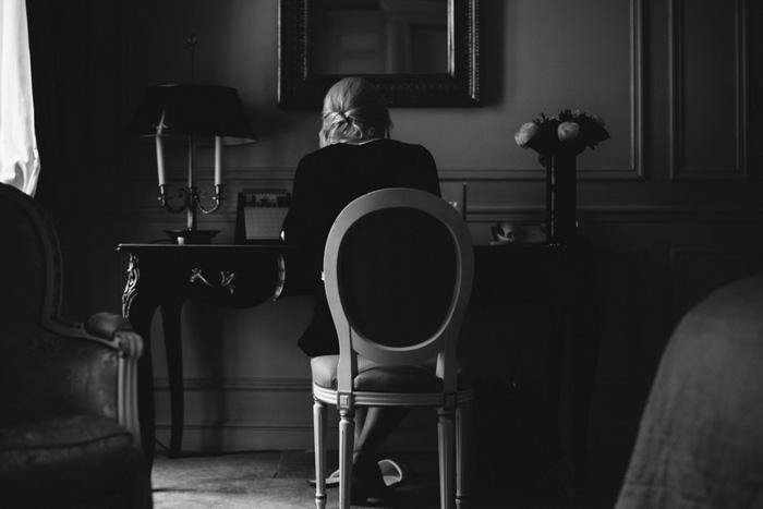 bride sitting at desk