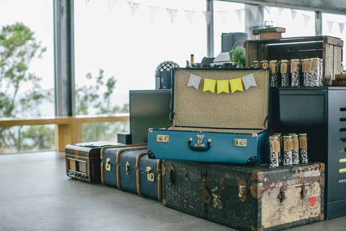 suitcase decor at wedding