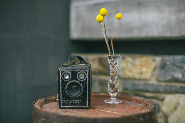 vintage camera as wedding decor