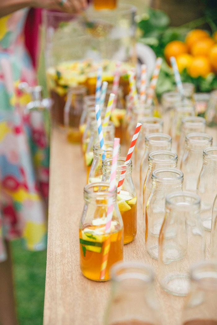 wedding drinks with striped straws