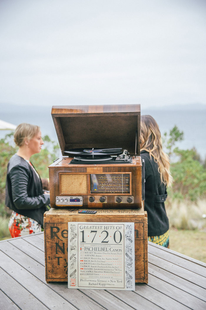 vintage record player at wedding