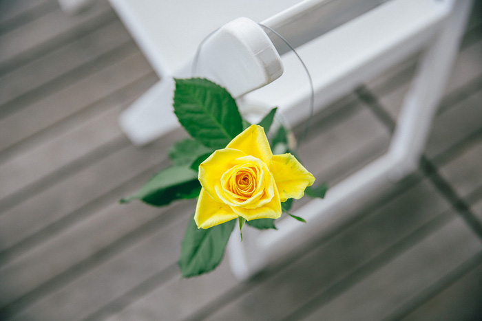 yellow rose on reception seating