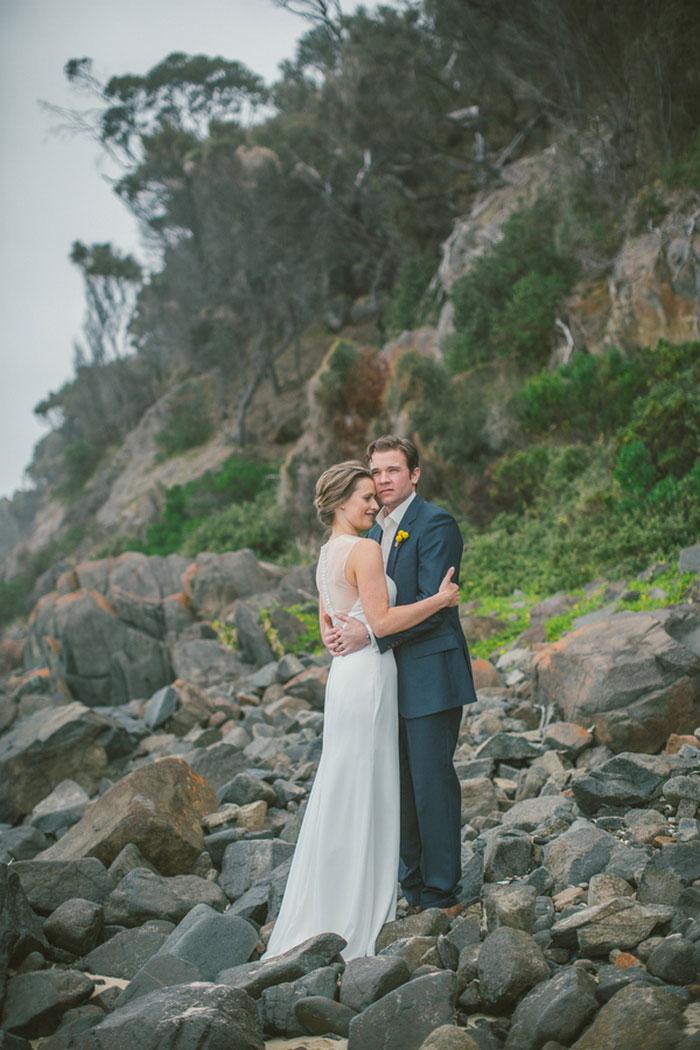 wedding portrait on rocky coast
