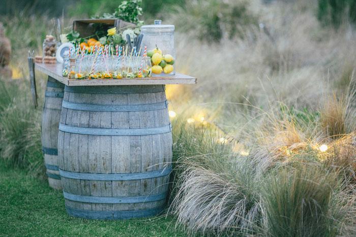 wine barrel table at wedding