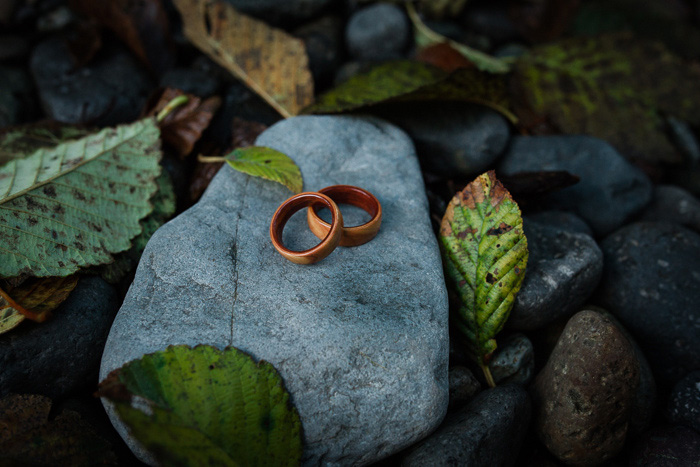 wood wedding bands on rock