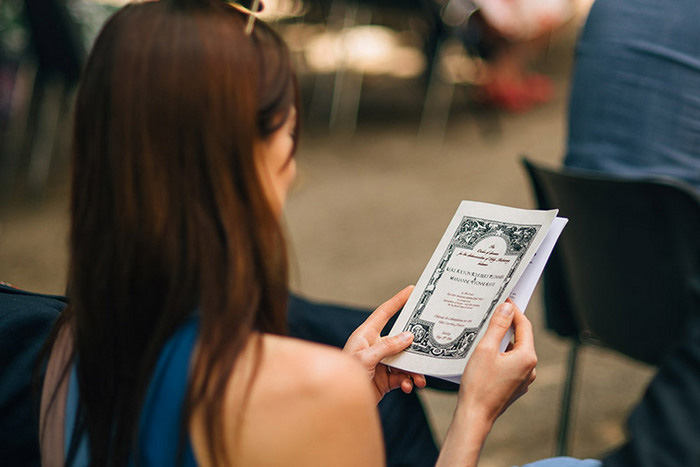 guest reading wedding program