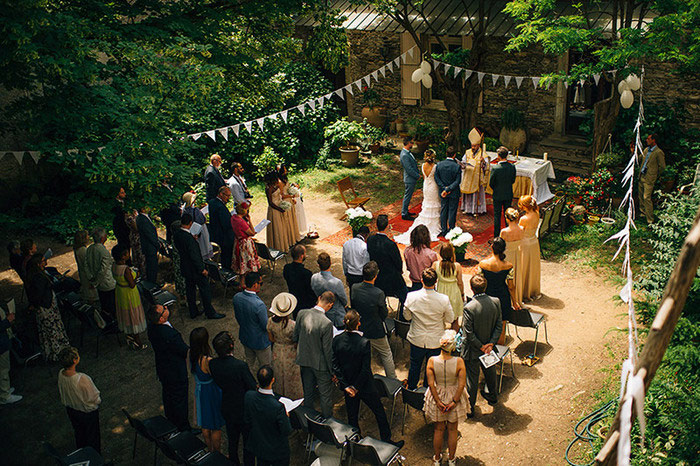 French courtyard wedding ceremony