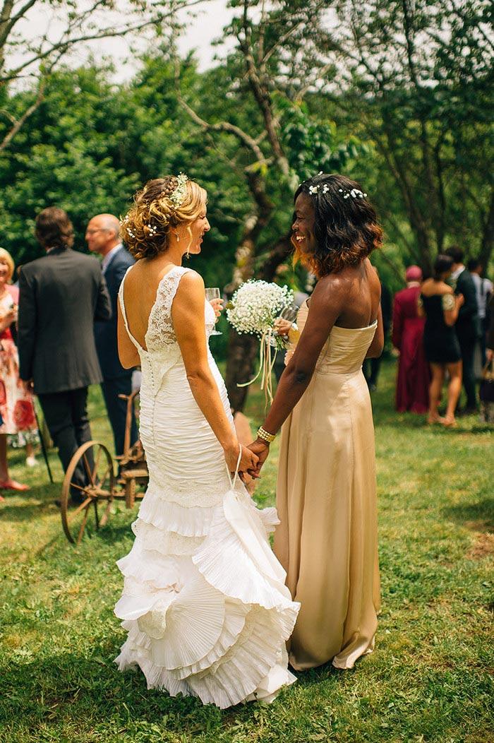 bride and bridesmaid at reception
