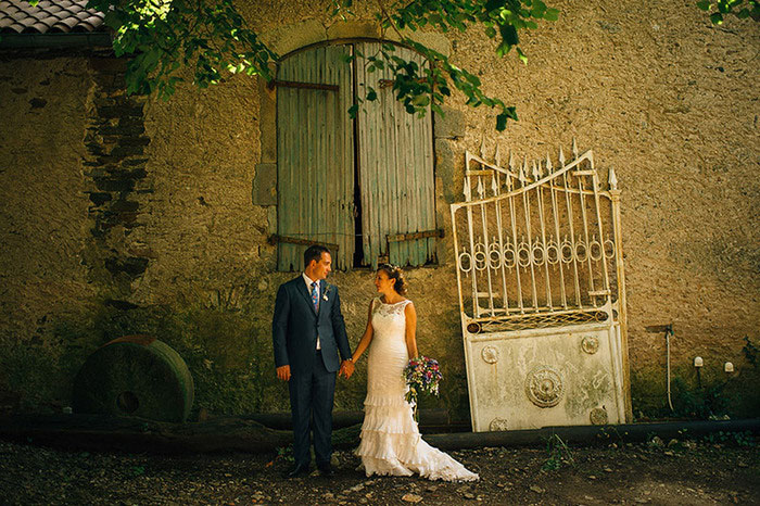 bride and groom portrait in rural France