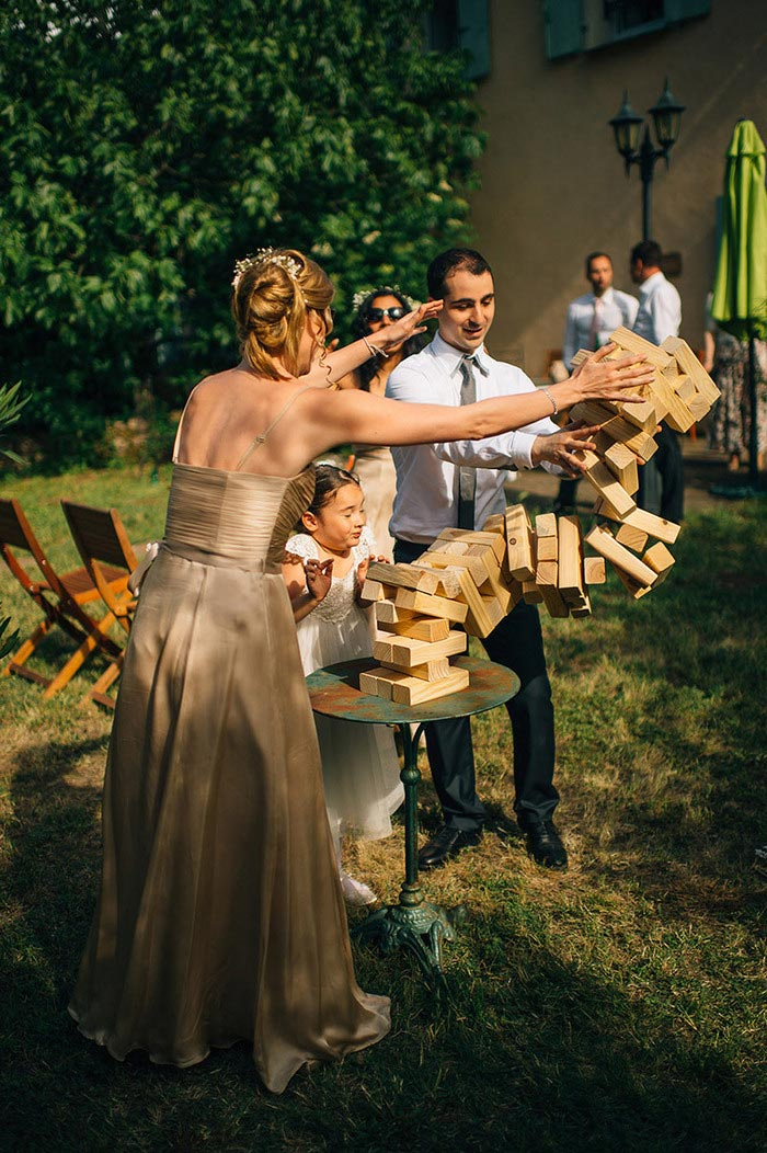guests playing giant jenga at reception