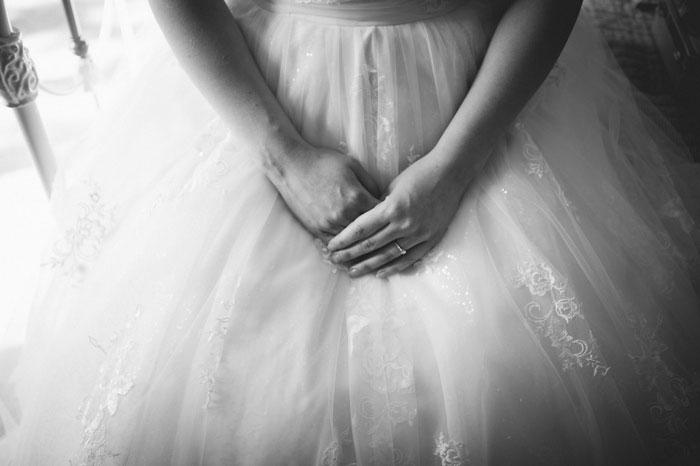 bride's hands in her lap