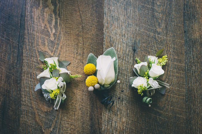 boutonnieres on wood