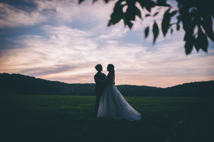 bride and groom portrait at dusk