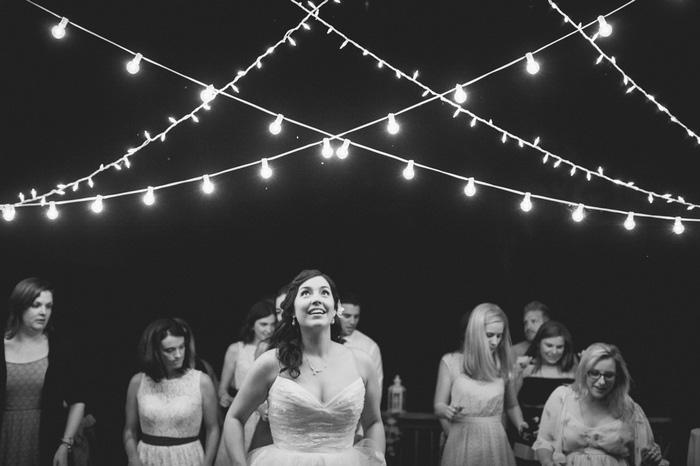 bride at outdoor reception