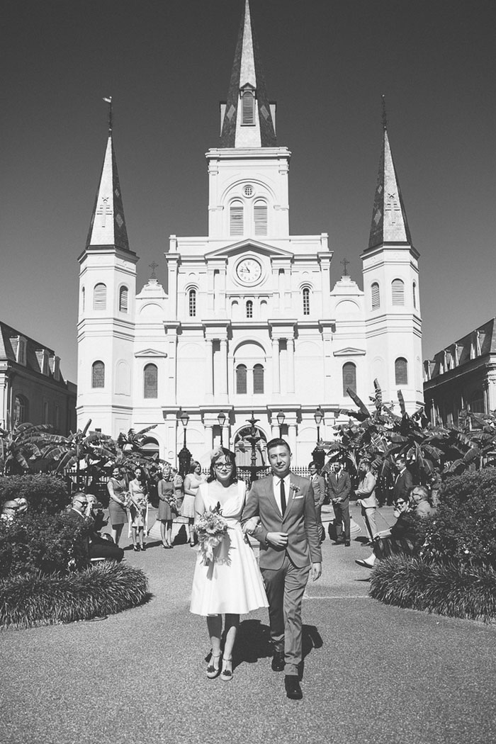 bride and groom in Jackson Square