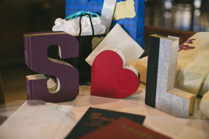 bride and groom initials at reception