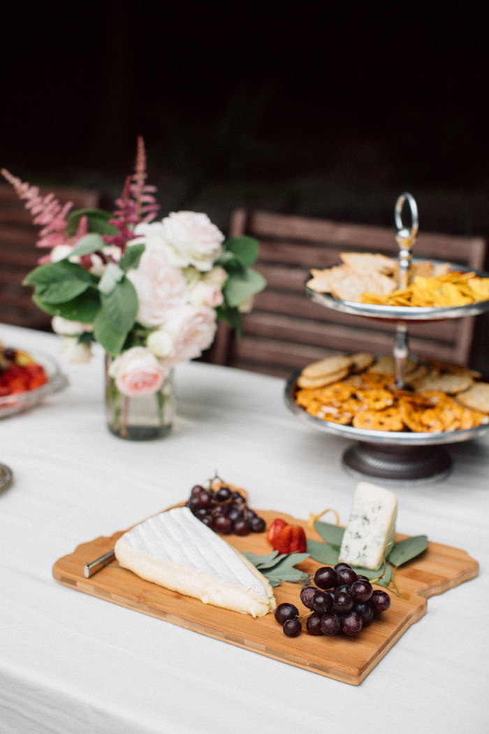 outdoor reception table with food