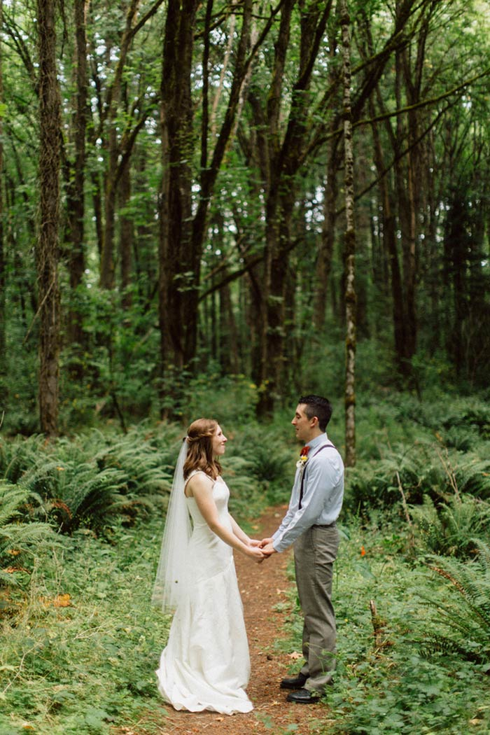 bride and groom portrait in the woods