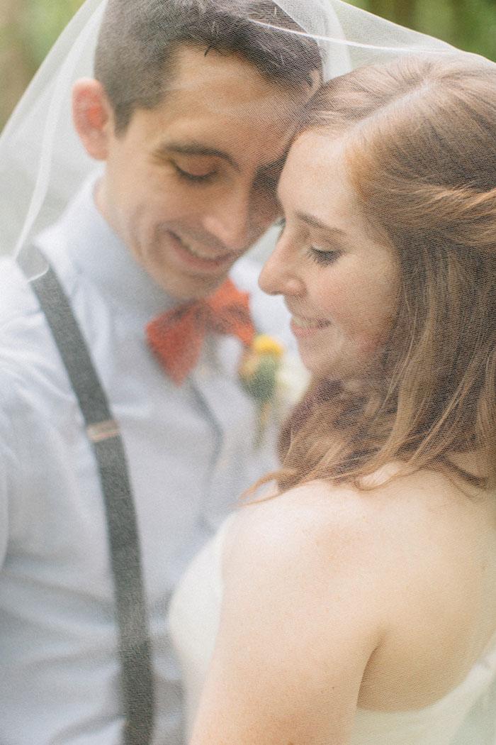 bride and groom portrait under veil