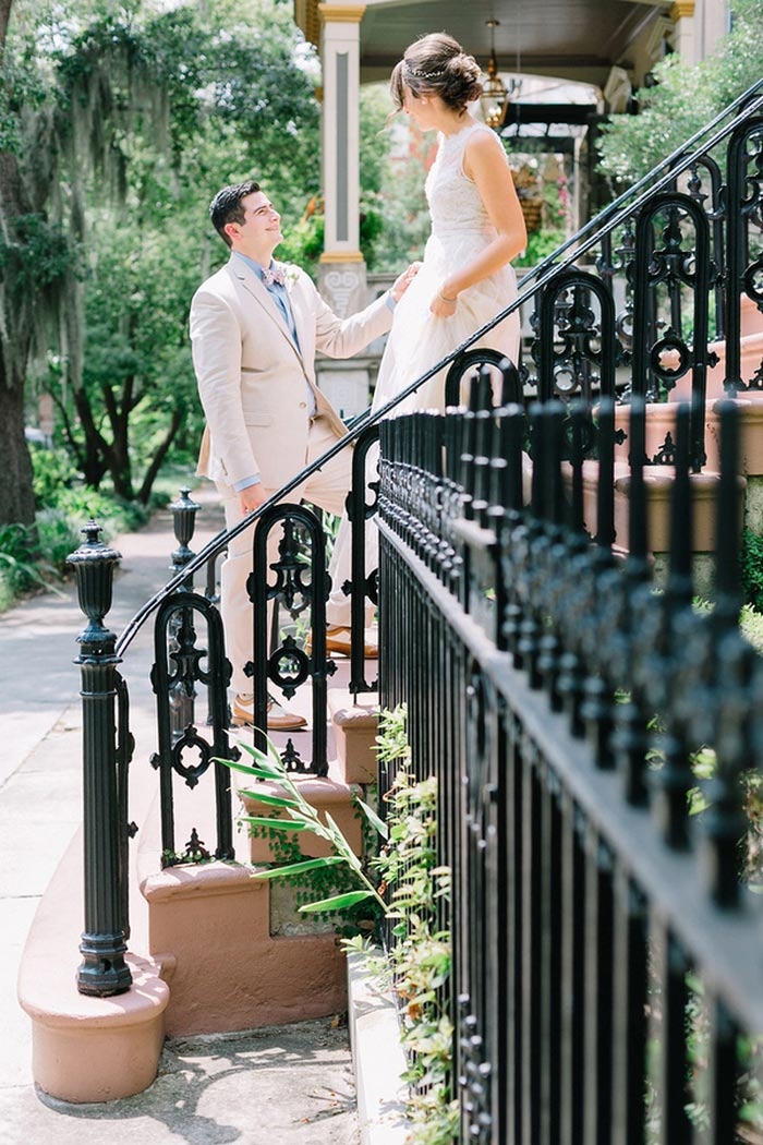 bride and groom on Gastonian steps
