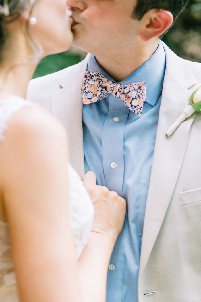 groom's floral bow tie