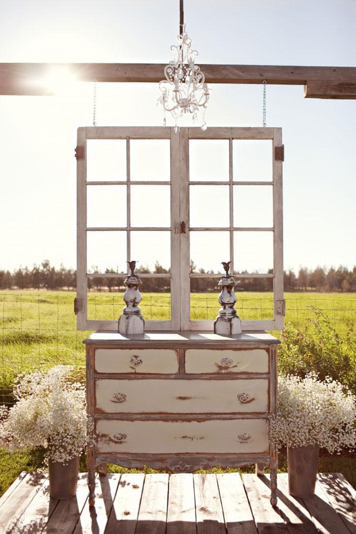 vintage dresser wedding altar