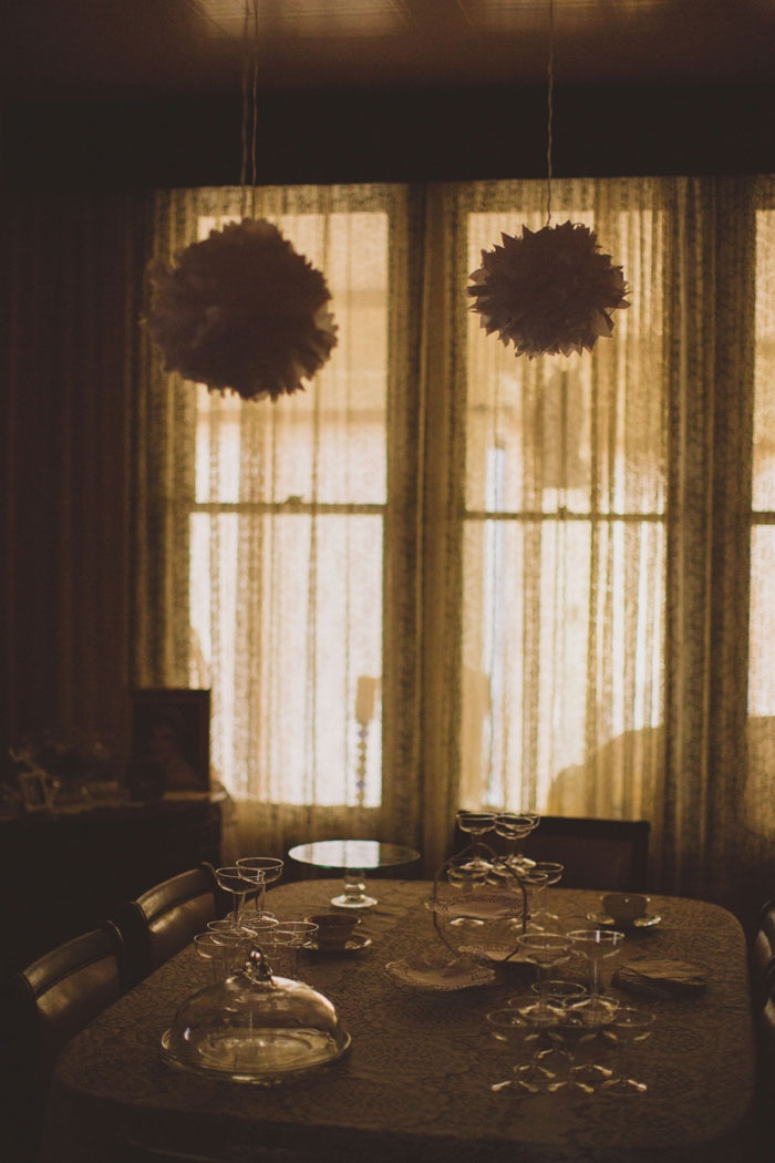 dining room with handmade wedding decorations