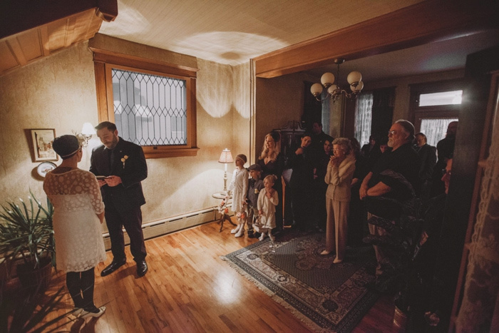 living room elopement ceremony