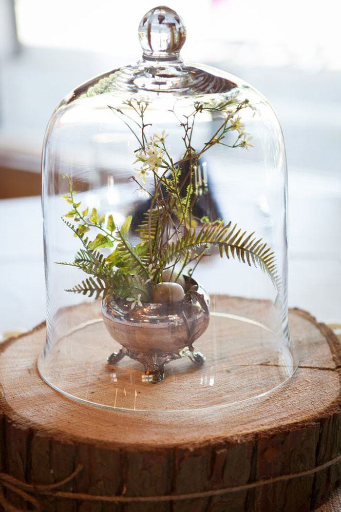 fern belljar centerpiece