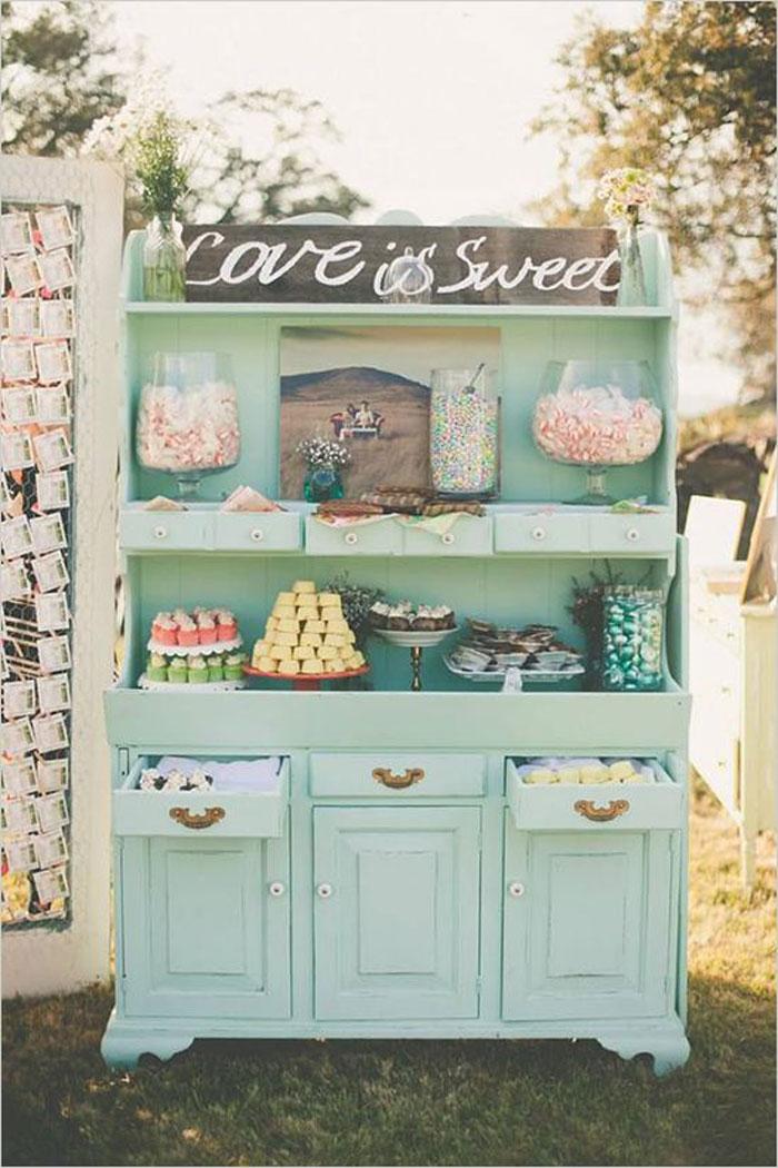 vintage dresser candy buffet